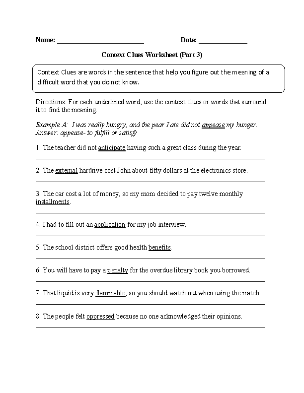 Context Clues Worksheet Part 3 Intermediate