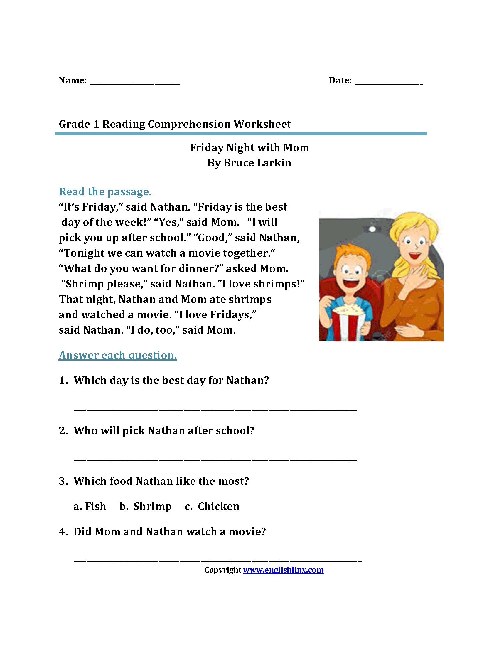 Free Printable 1st Grade Reading Worksheets : First grade reading worksheets questions best free