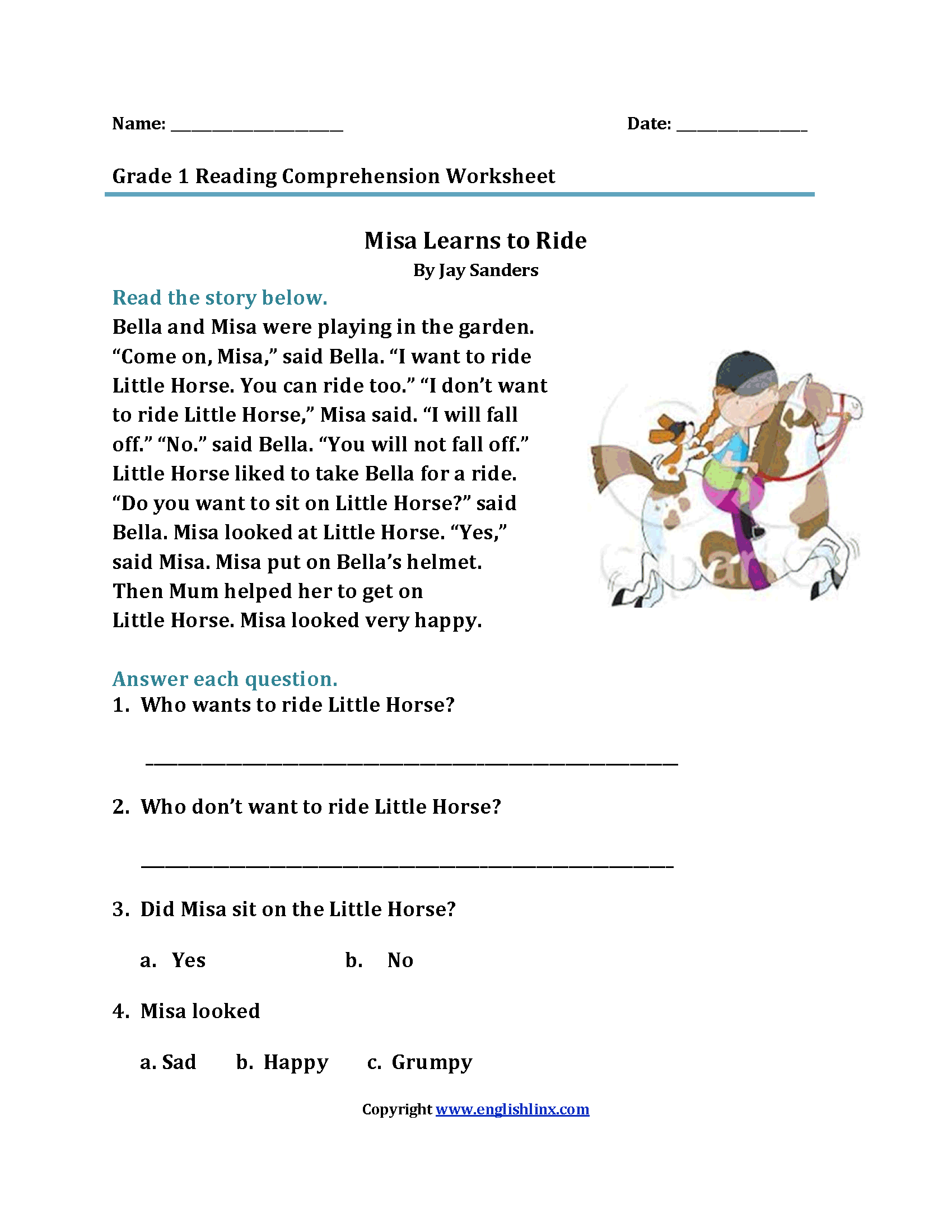 Reading Worksheets – First Grade Reading Worksheet