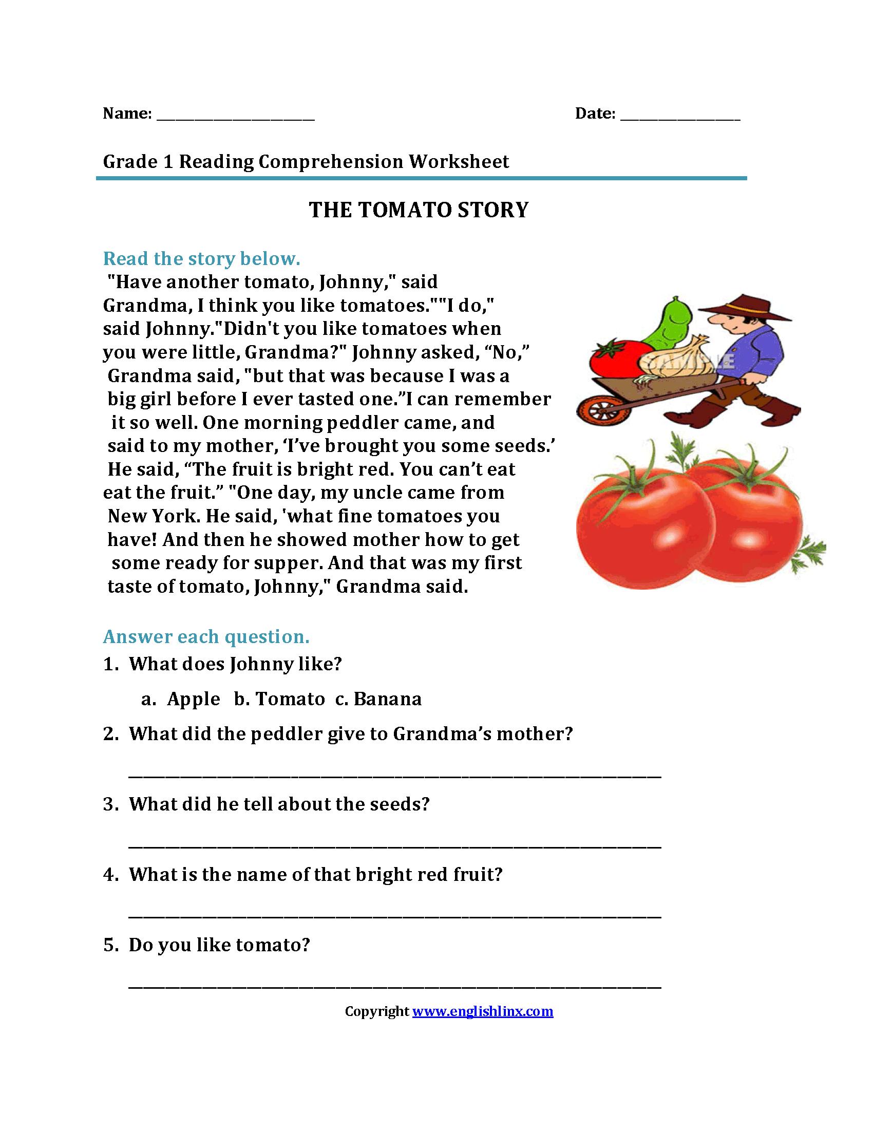 Reading Worksheets | First Grade Reading Worksheets