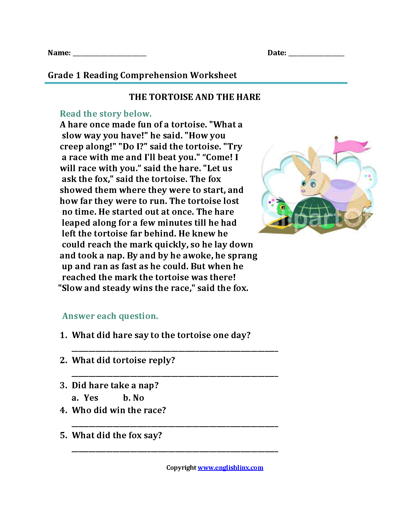 Tortoise and the Hare<br>First Grade Reading Worksheets