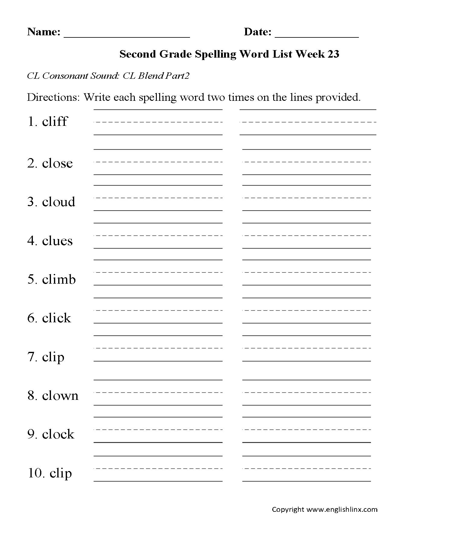 Uncategorized Blending Words Worksheets spelling worksheets second grade words week 23 cl consonant blend 2 worksheets