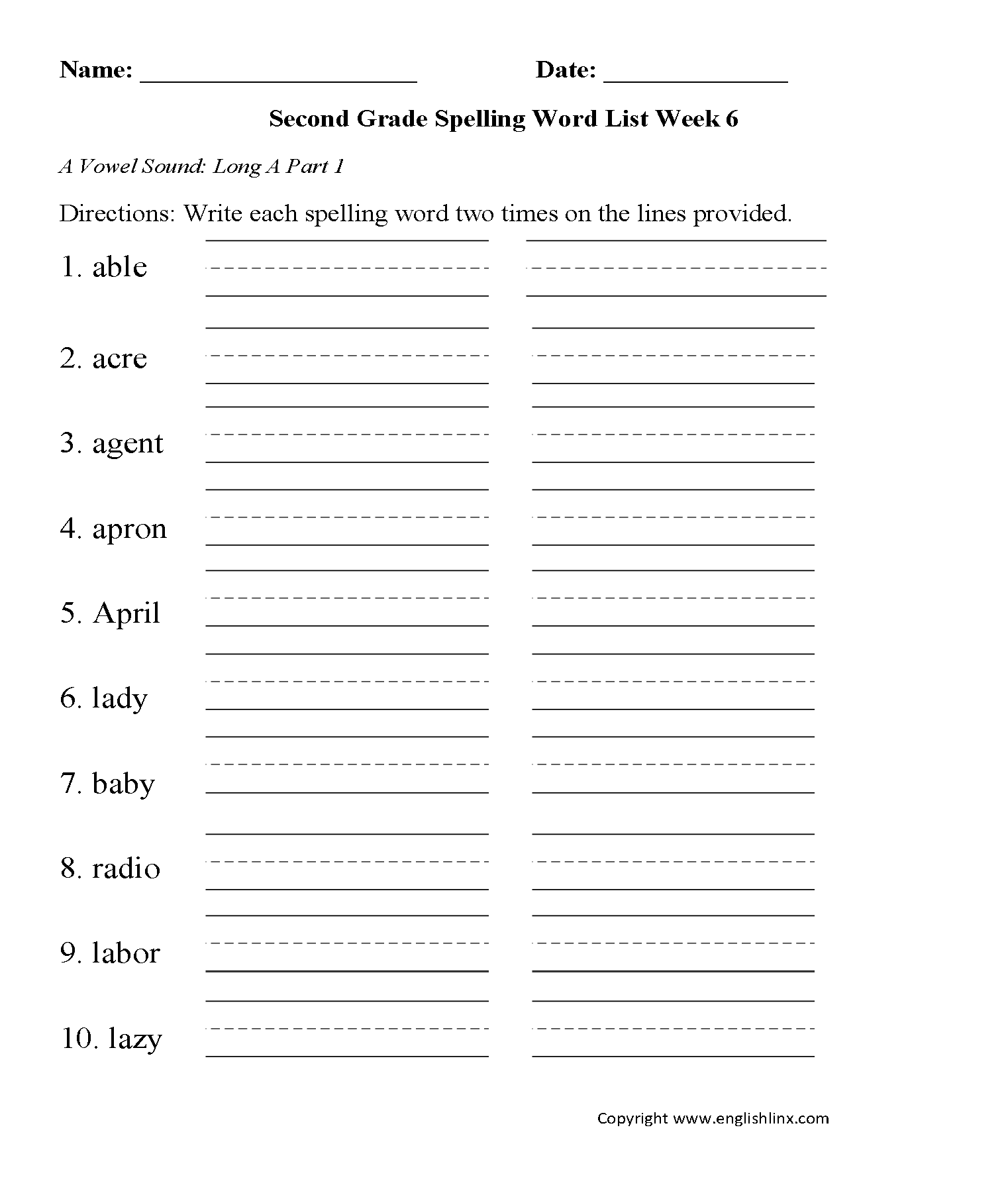 Spelling Worksheets – Third Grade Phonics Worksheets