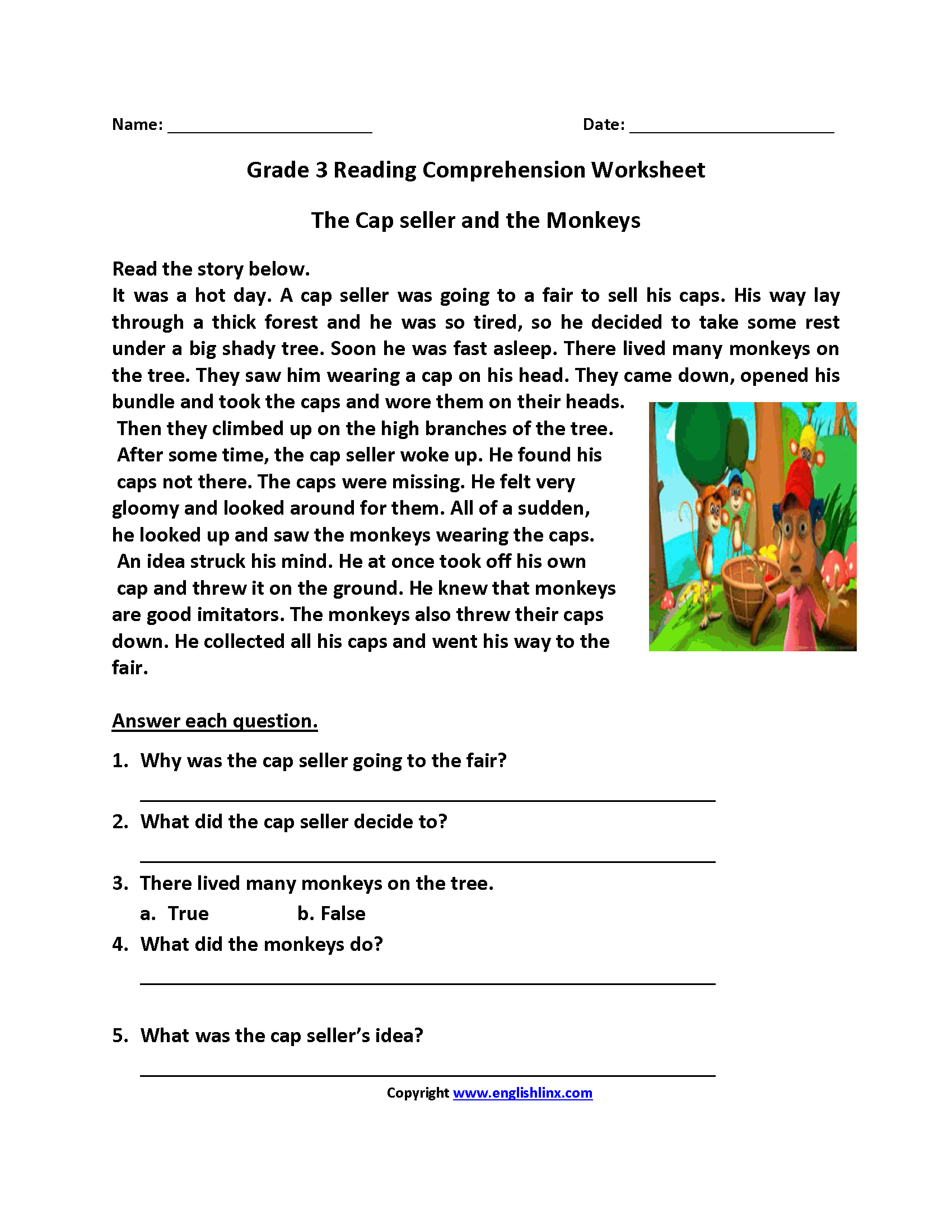 Cap Seller and Monkeys Third Grade Reading Worksheets