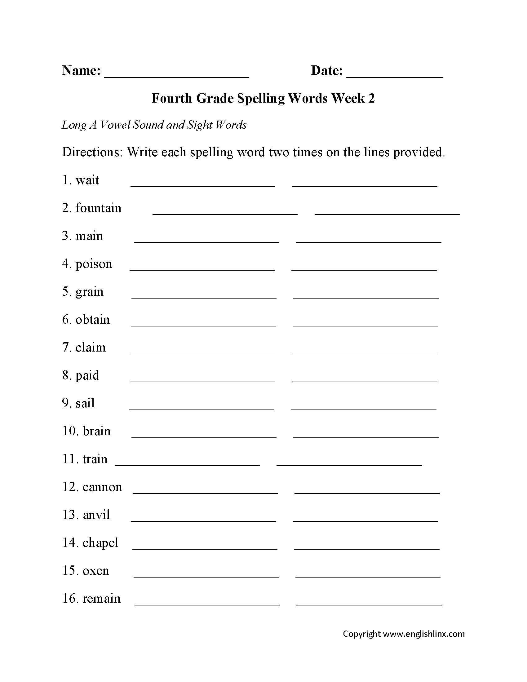 Week 2 Long A Vowel Fourth Grade Spelling Worksheets