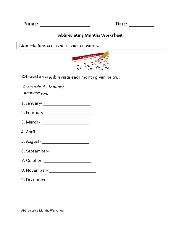 Abbreviating Months Worksheet