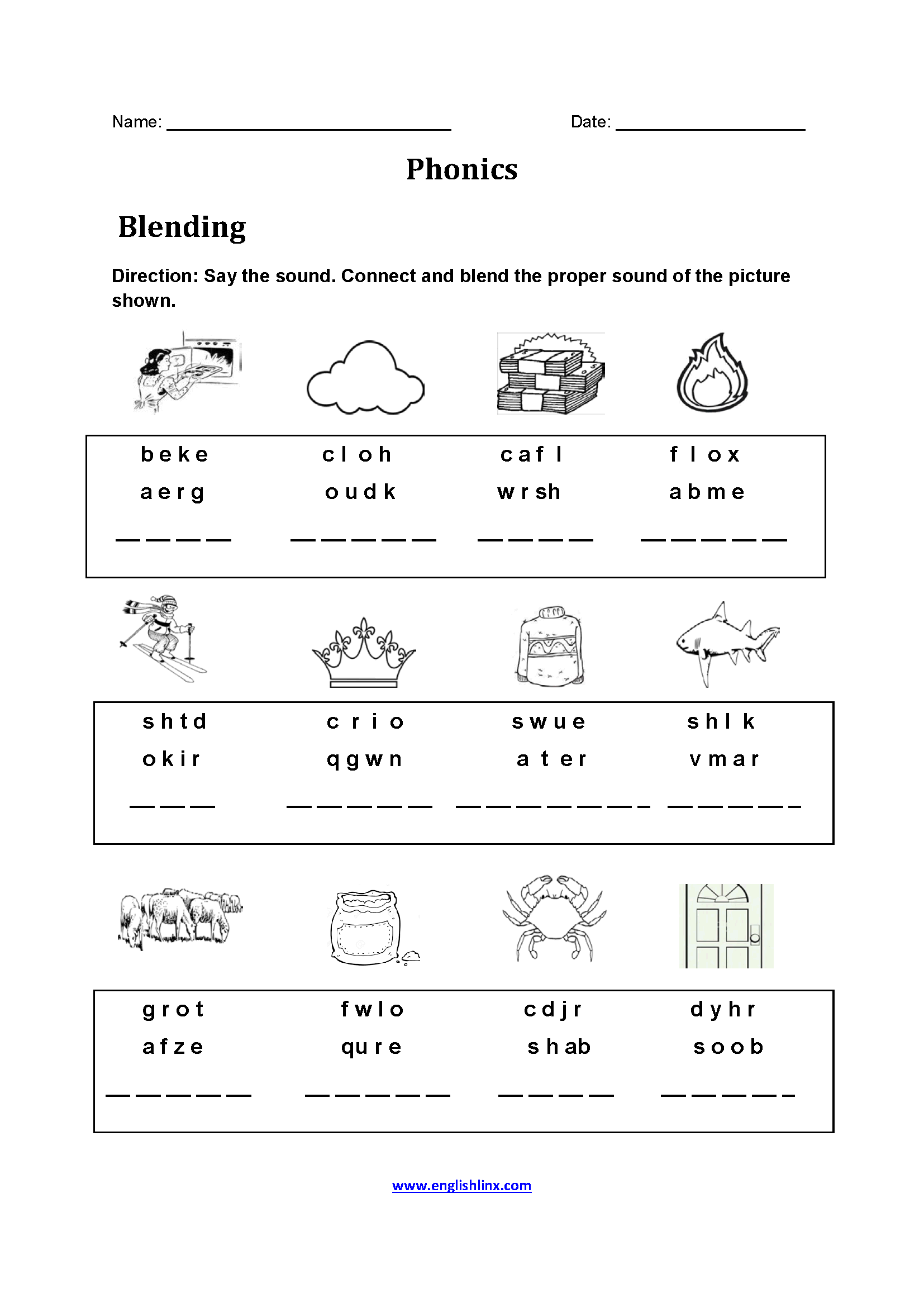 Blending Phonics Worksheets