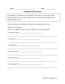 Capitalizing Titles Worksheet
