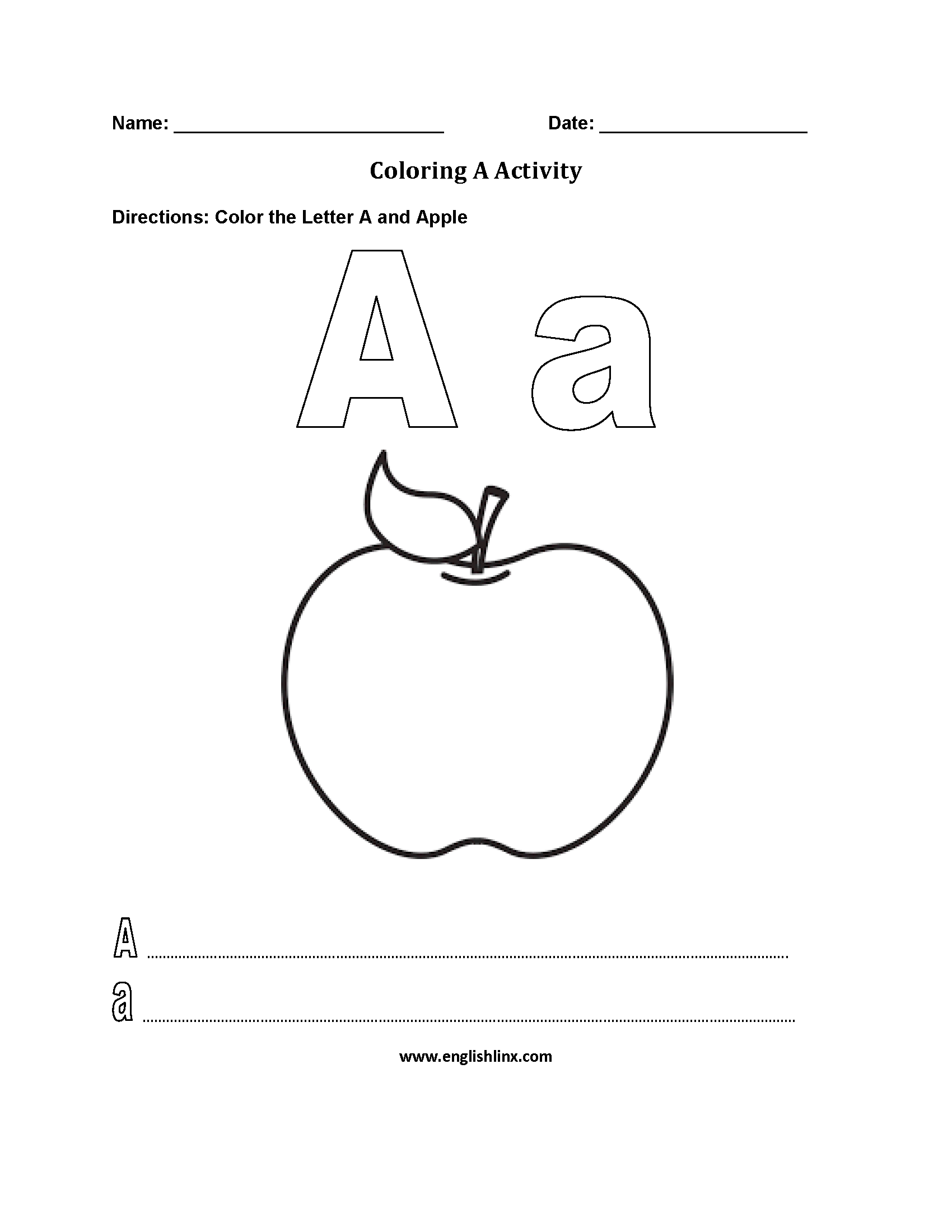Letter A Alphabet Coloring Pages Worksheets