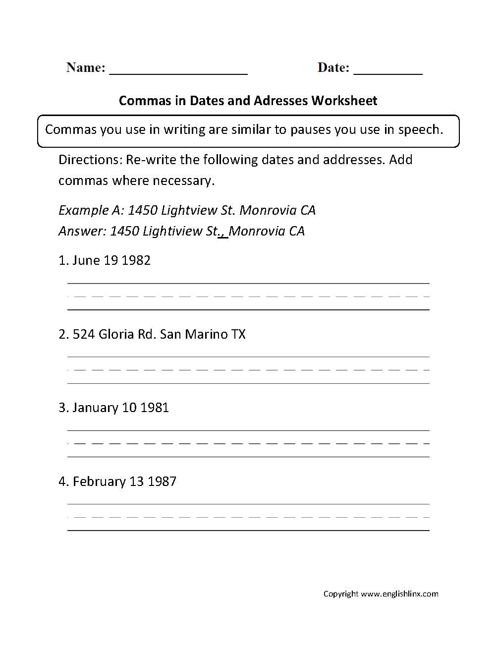 Commas in Dates and Addresses Worksheet