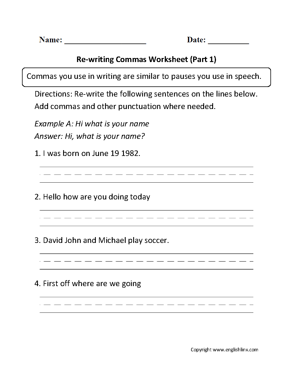 Re-Writing Commas Worksheets Part 1