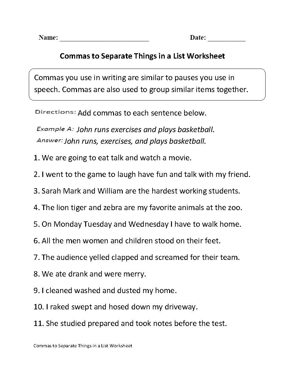 Commas Separate Things in List Worksheet