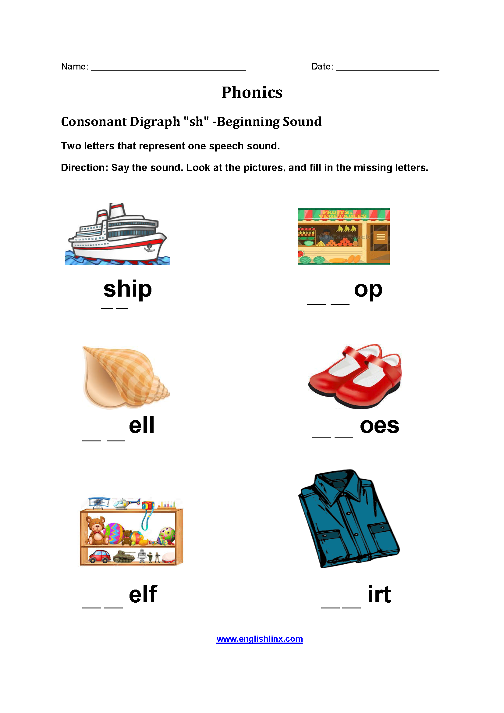 Consonant Diagraph SH Phonics Worksheets