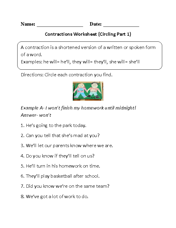 Circling Contractions Worksheet Part 1