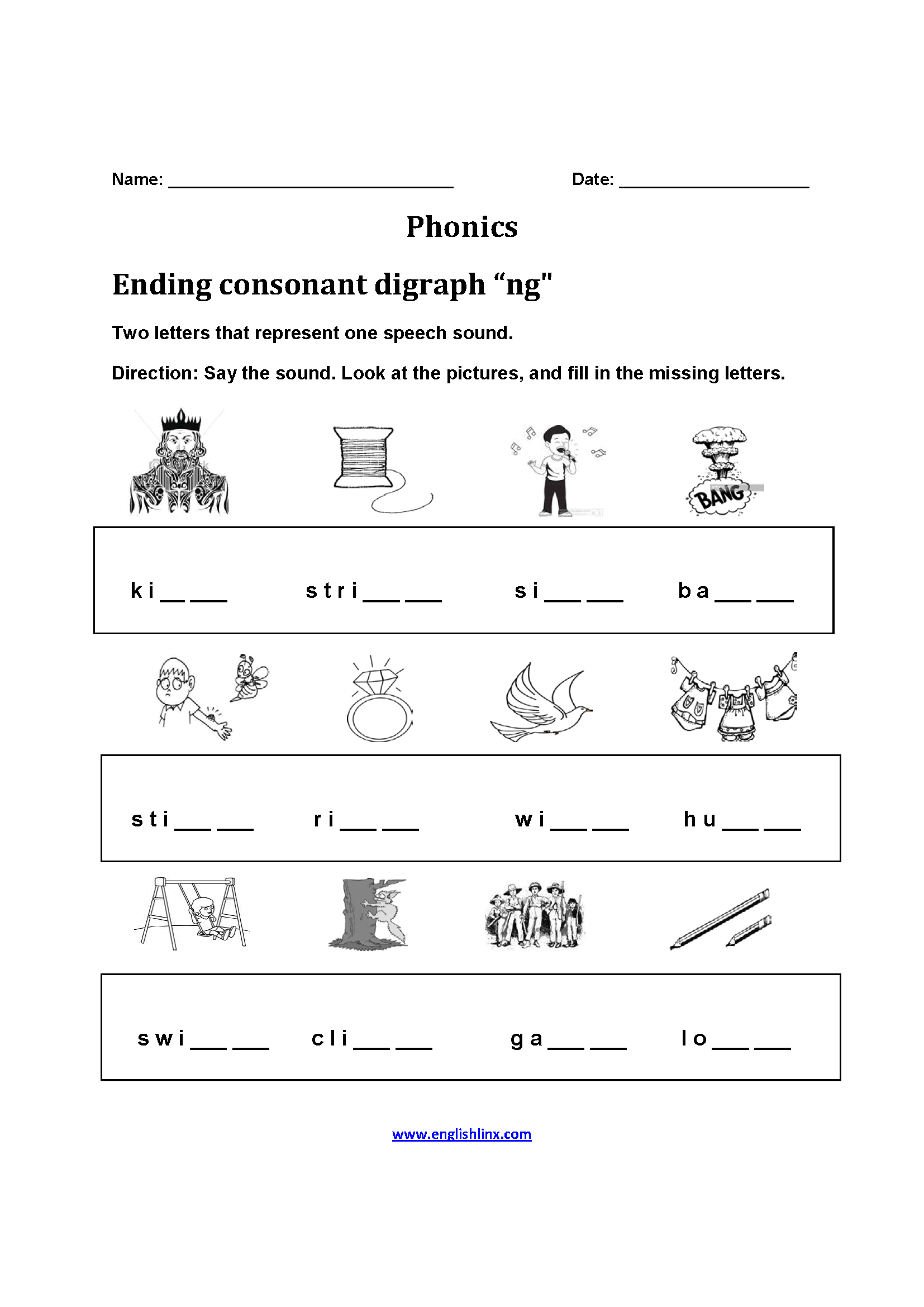 Ending Consonant Diagraph Phonics Worksheets