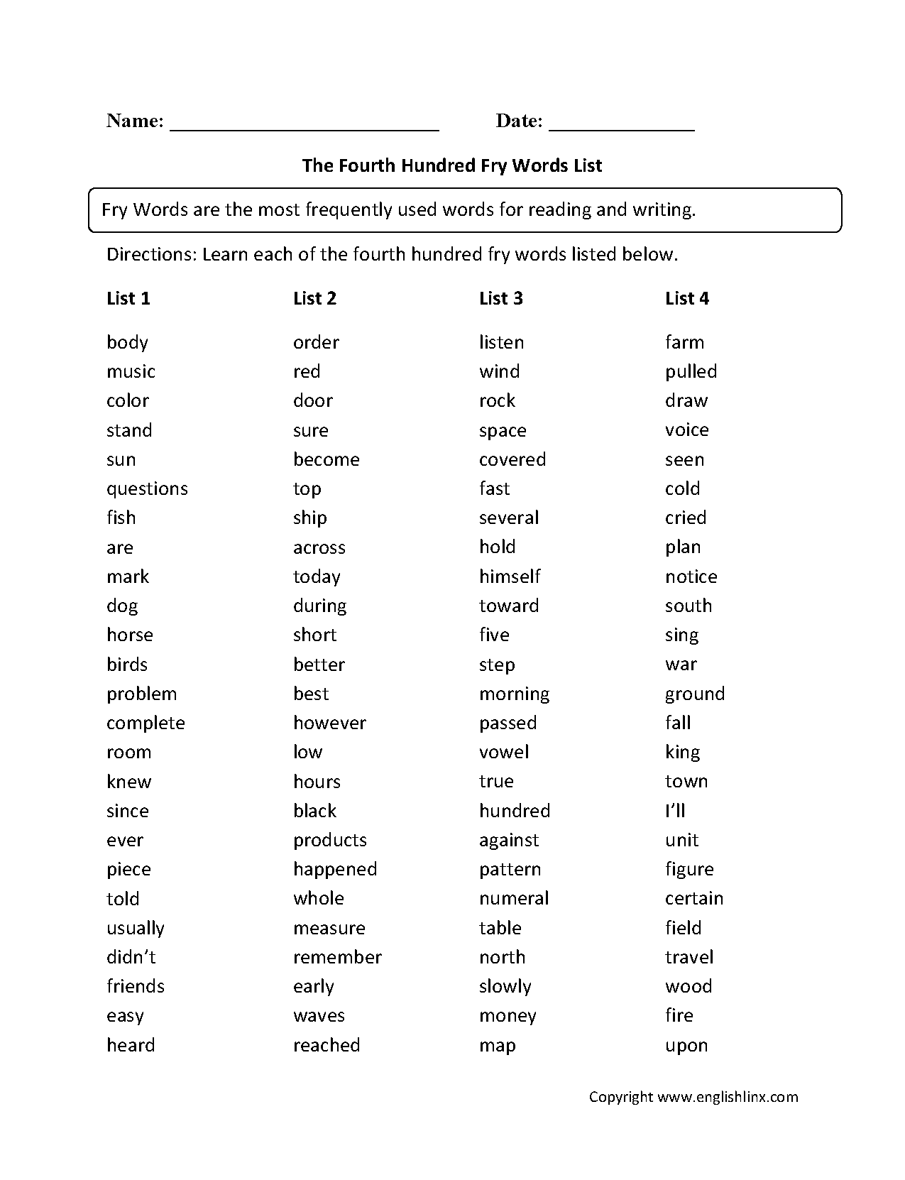 Vocabulary Worksheets Fry Words