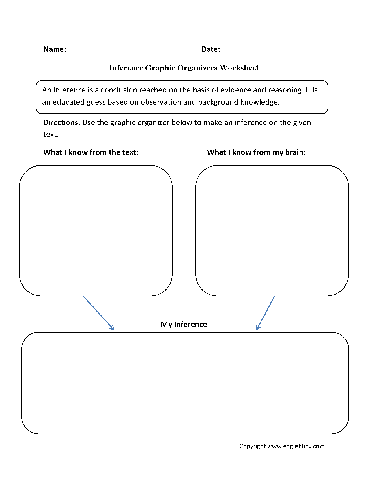 Inference Graphic Organizers Worksheets
