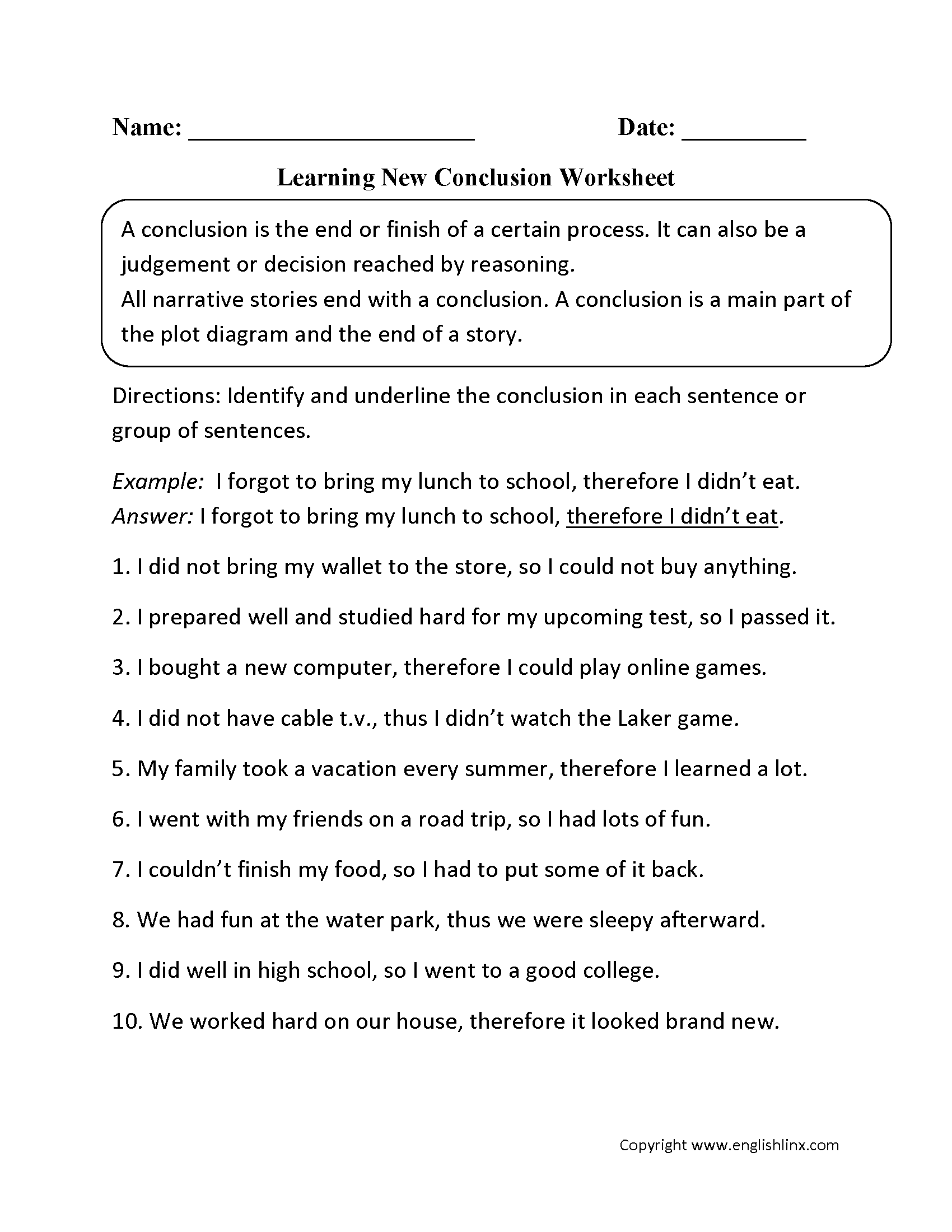 Learning New Conclusion Worksheet