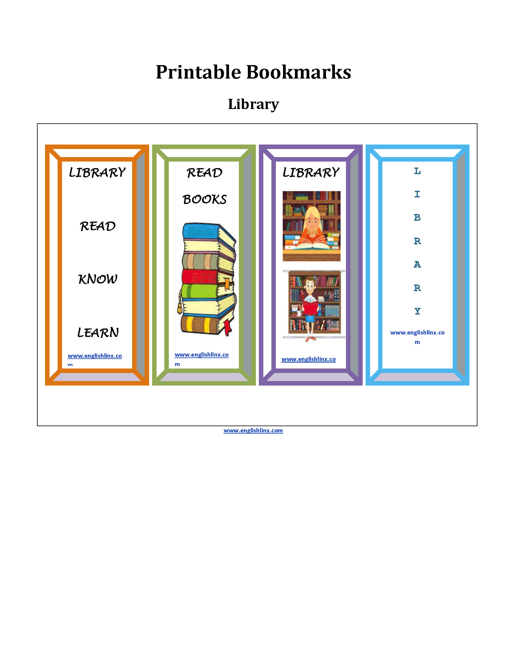 Library Printable Bookmarks Worksheets