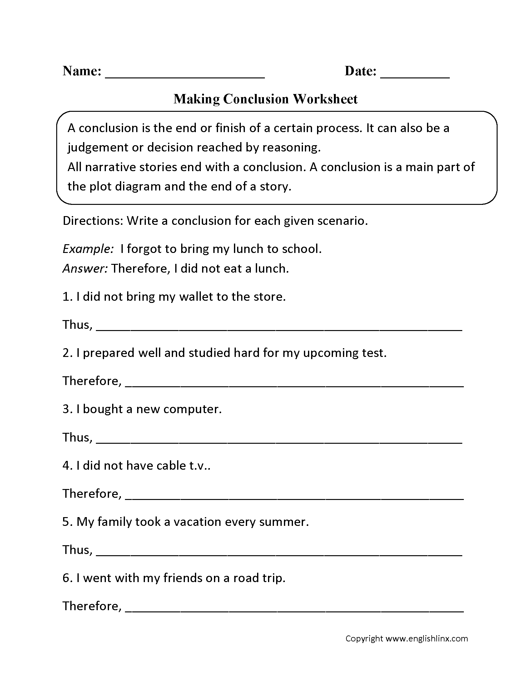 Making Conclusion Worksheet