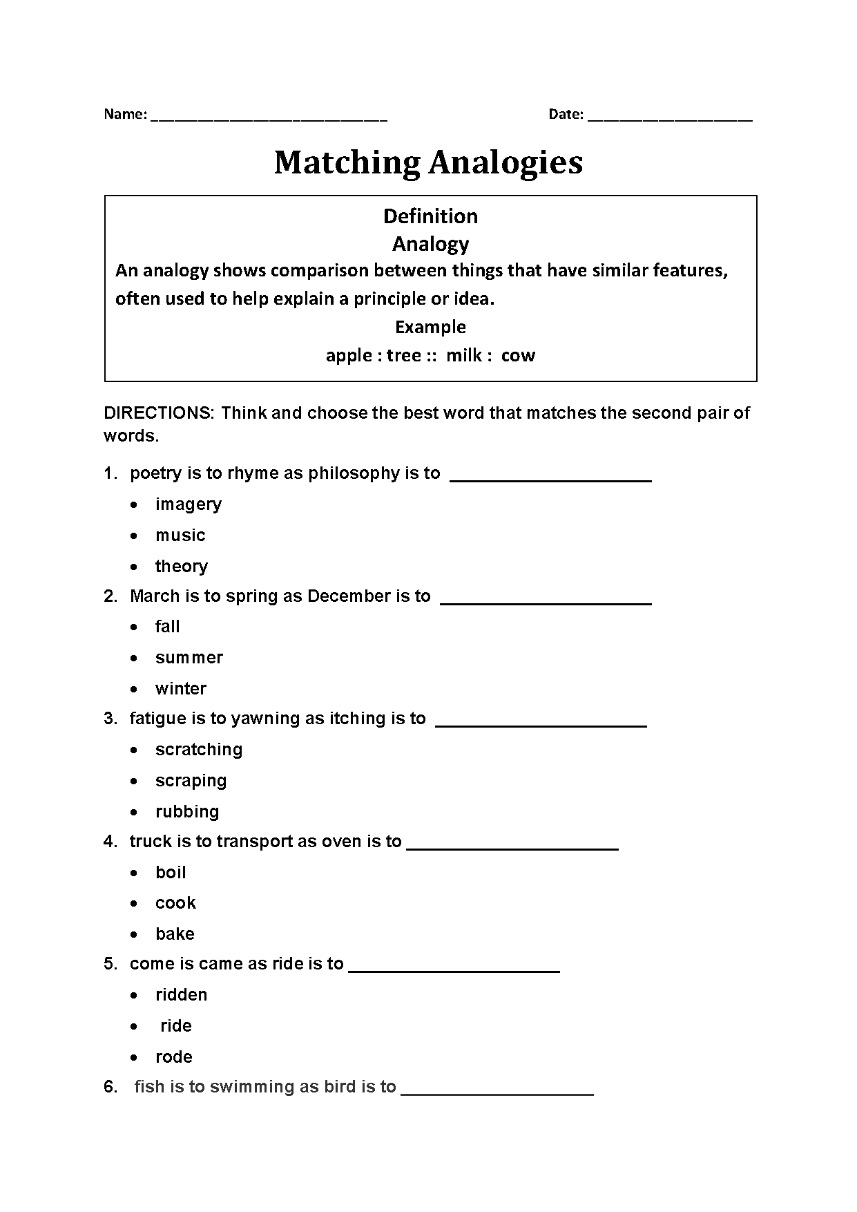 Matching Analogy Worksheets