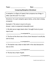 Figures of Speech Worksheets