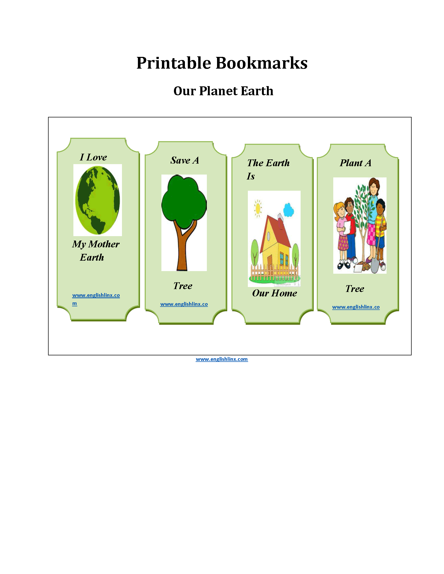 Planet Earth Printable Bookmarks Worksheets