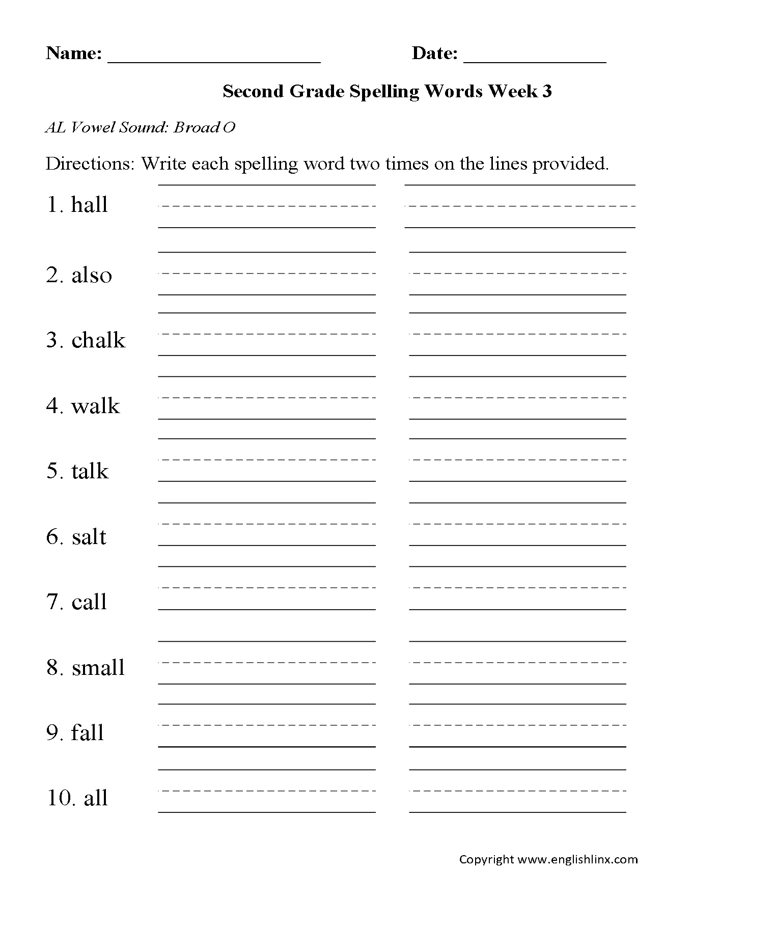 Second Grade Spelling Worksheets