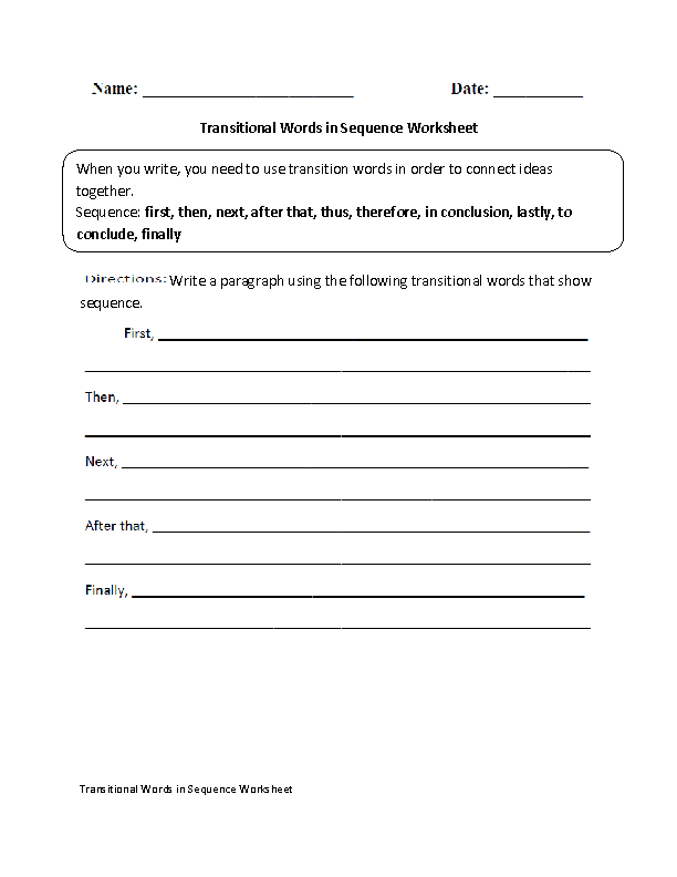 Transitional Words in a Sequence Worksheet