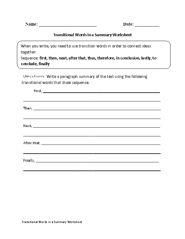 Transitional Words in a Summary Worksheet