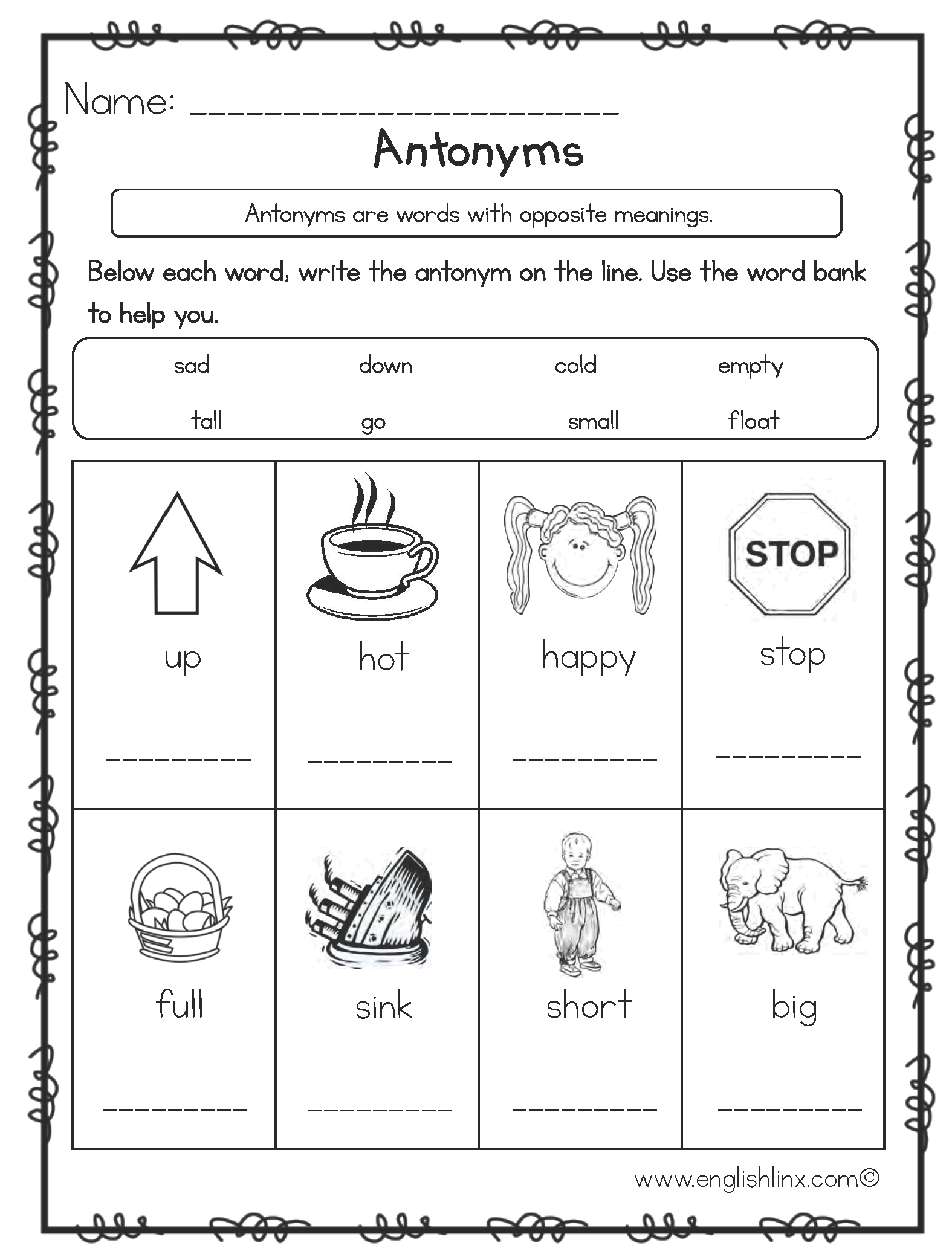 Write the Antonyms Worksheets
