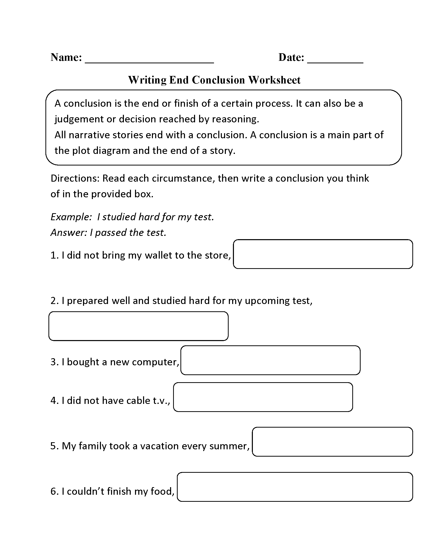 Writing End Conclusion Worksheets
