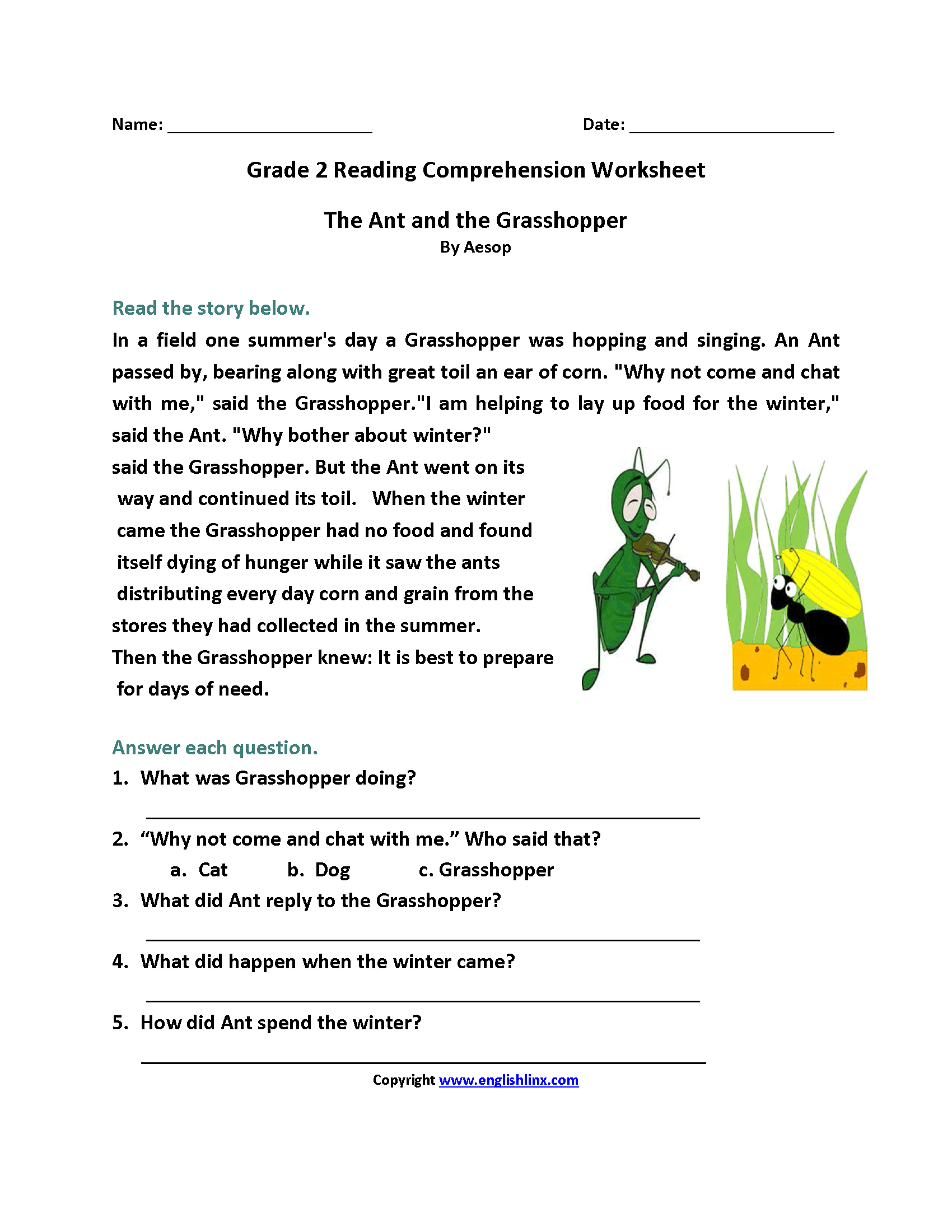 worksheet Reading Comprehension Worksheet 2nd Grade english worksheets reading second grade worksheets