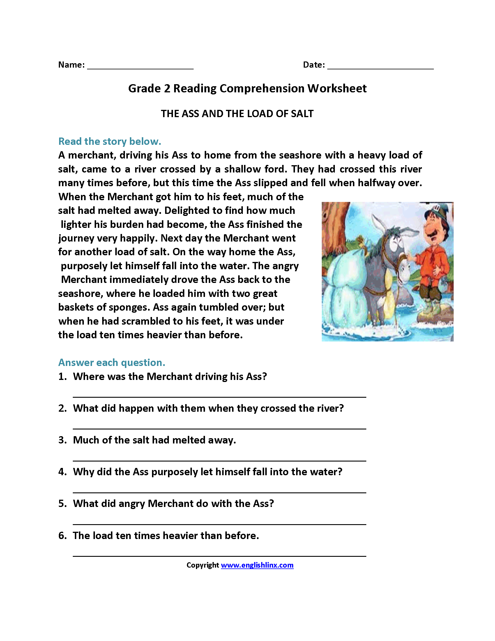 Reading Worksheets – Reading Comprehension Worksheets 2nd Grade