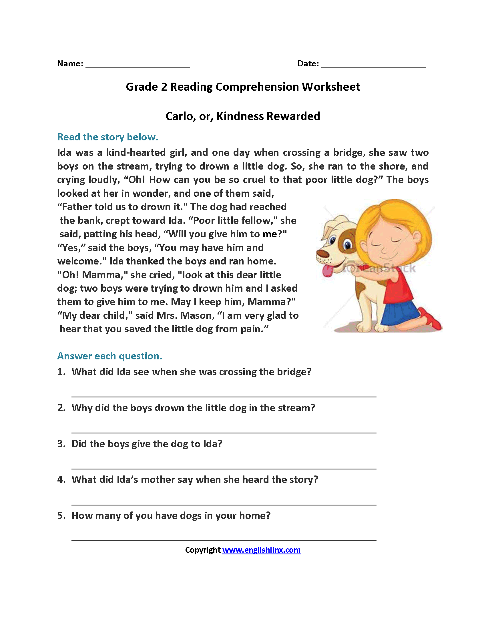 Reading Worksheets – Free Printable Second Grade Worksheets