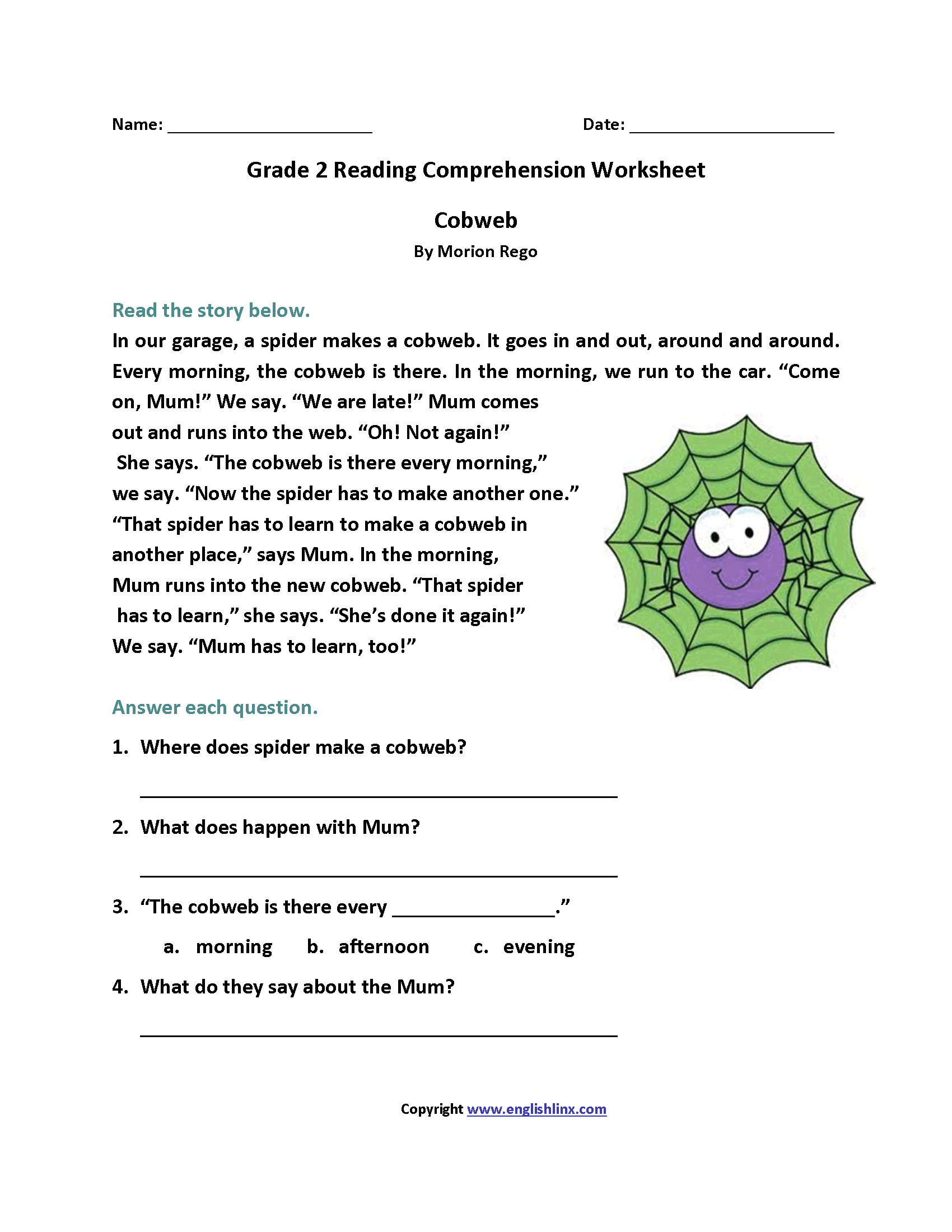 It's just a graphic of Smart Printable 2nd Grade Reading Worksheets