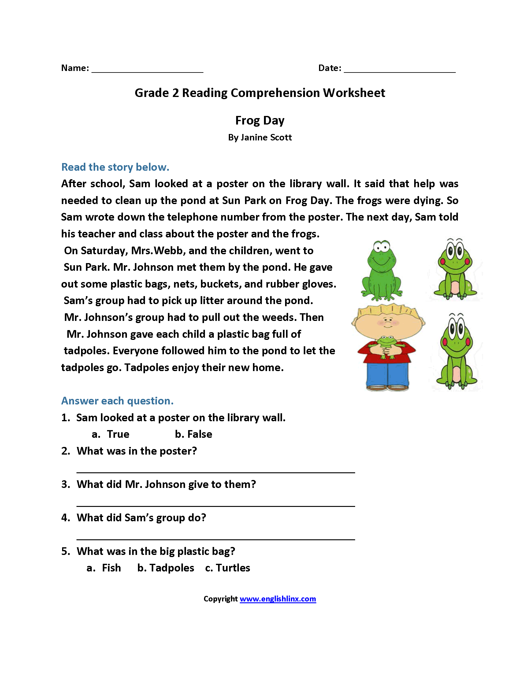 Reading Worksheets – Worksheets for 2nd Grade