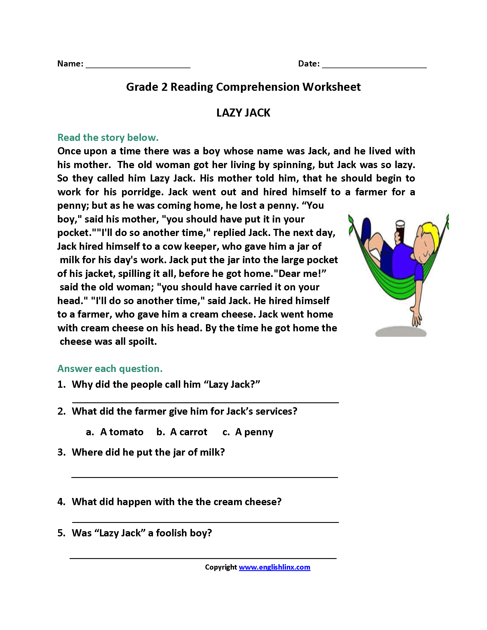 worksheet Reading Comprehension Worksheet 2nd Grade reading worksheets second grade worksheets