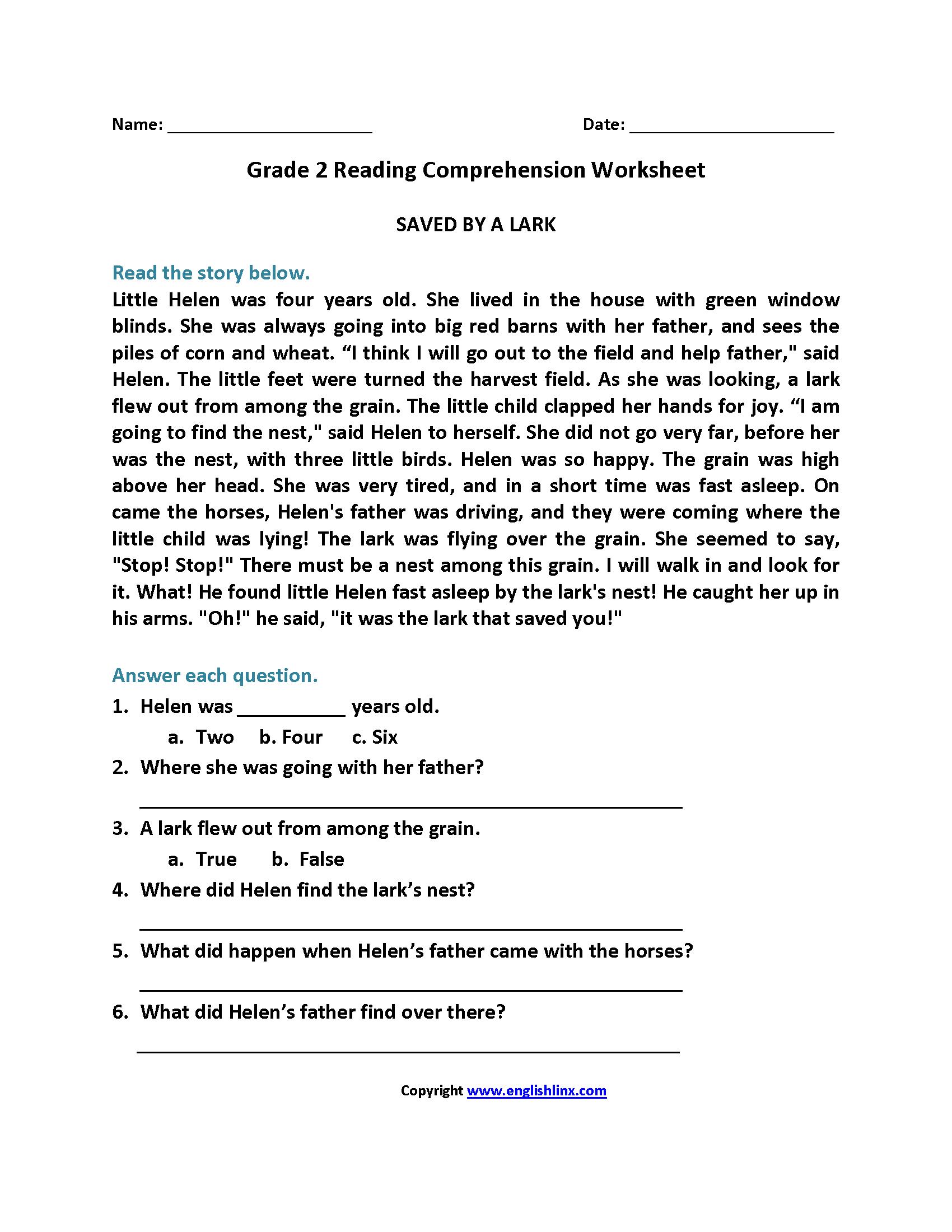 - Reading Worksheets Second Grade Reading Worksheets