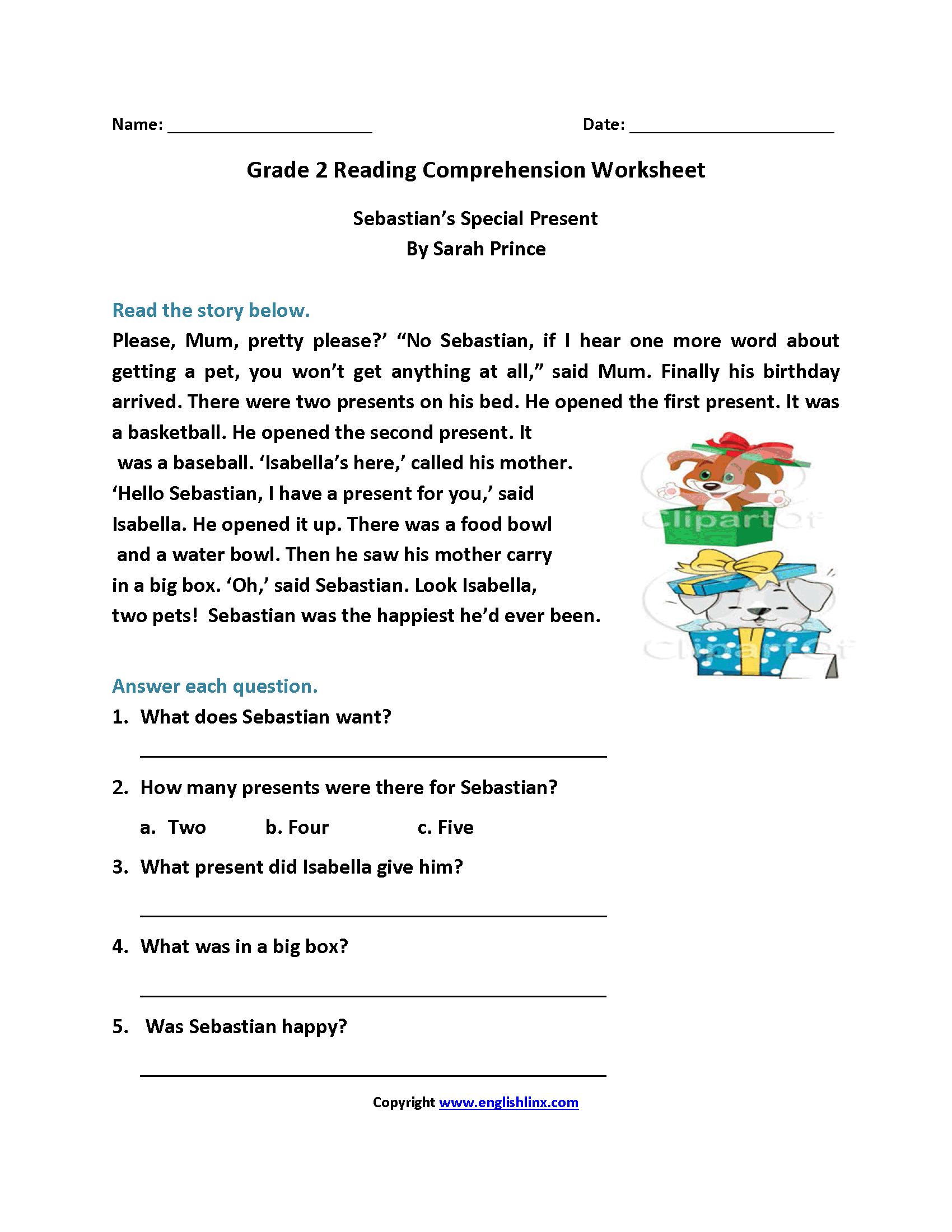 Comprehensive image within free printable reading comprehension worksheets for second grade