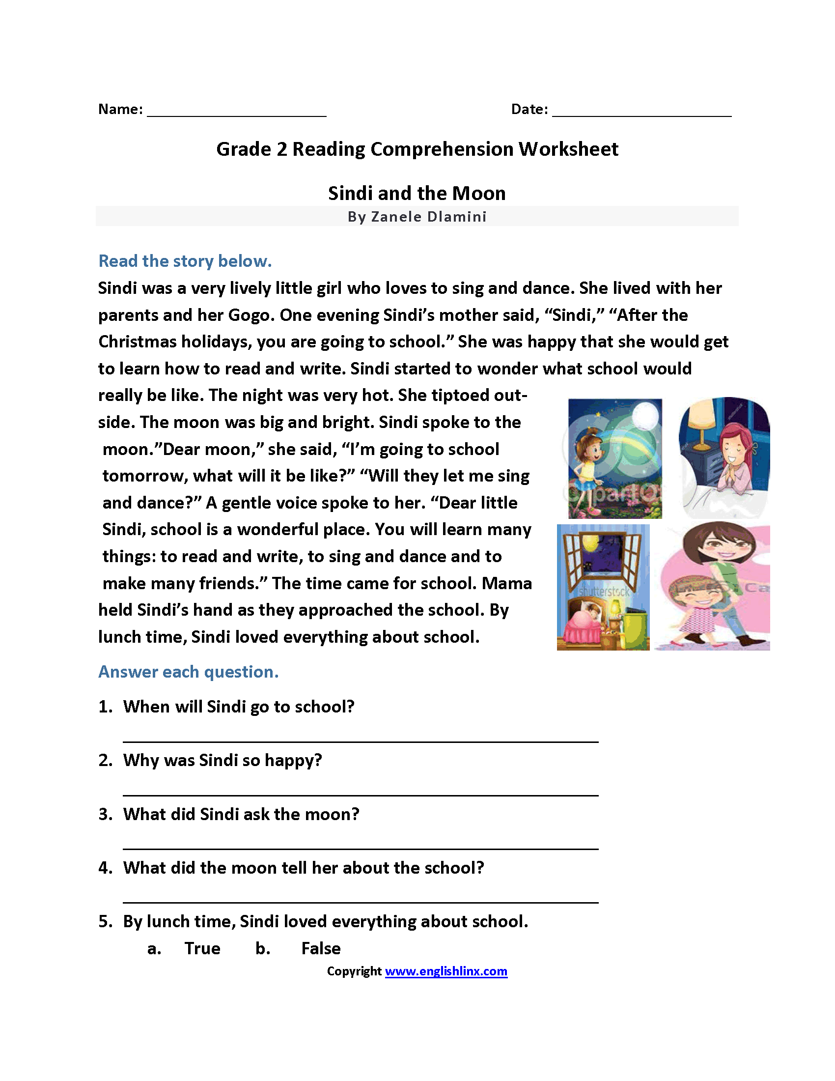 It is an image of Bewitching 2nd Grade Reading Printable Worksheets