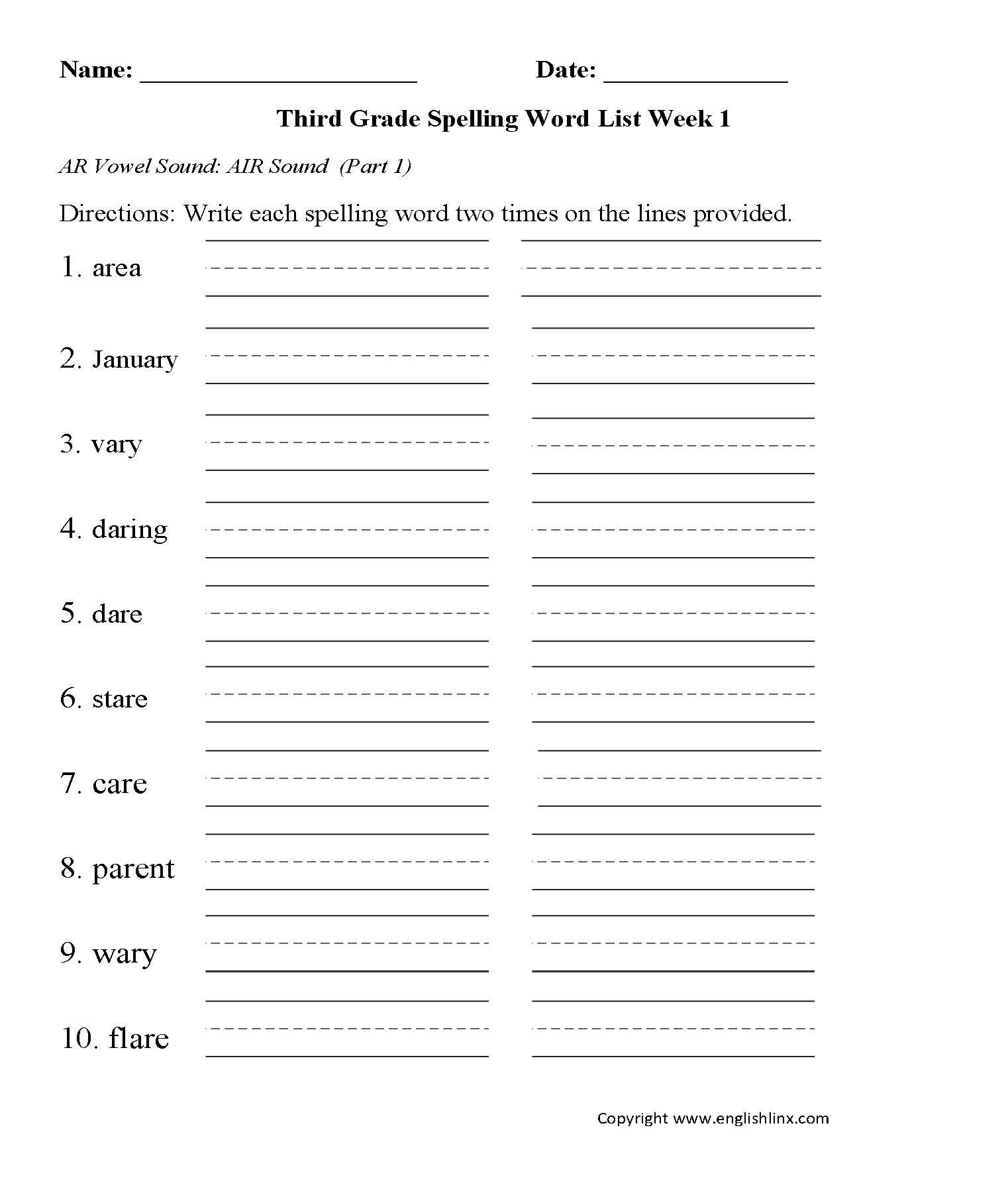 photo relating to Grade 3 Spelling Words Printable named Spelling Worksheets 3rd Quality Spelling Text Worksheets