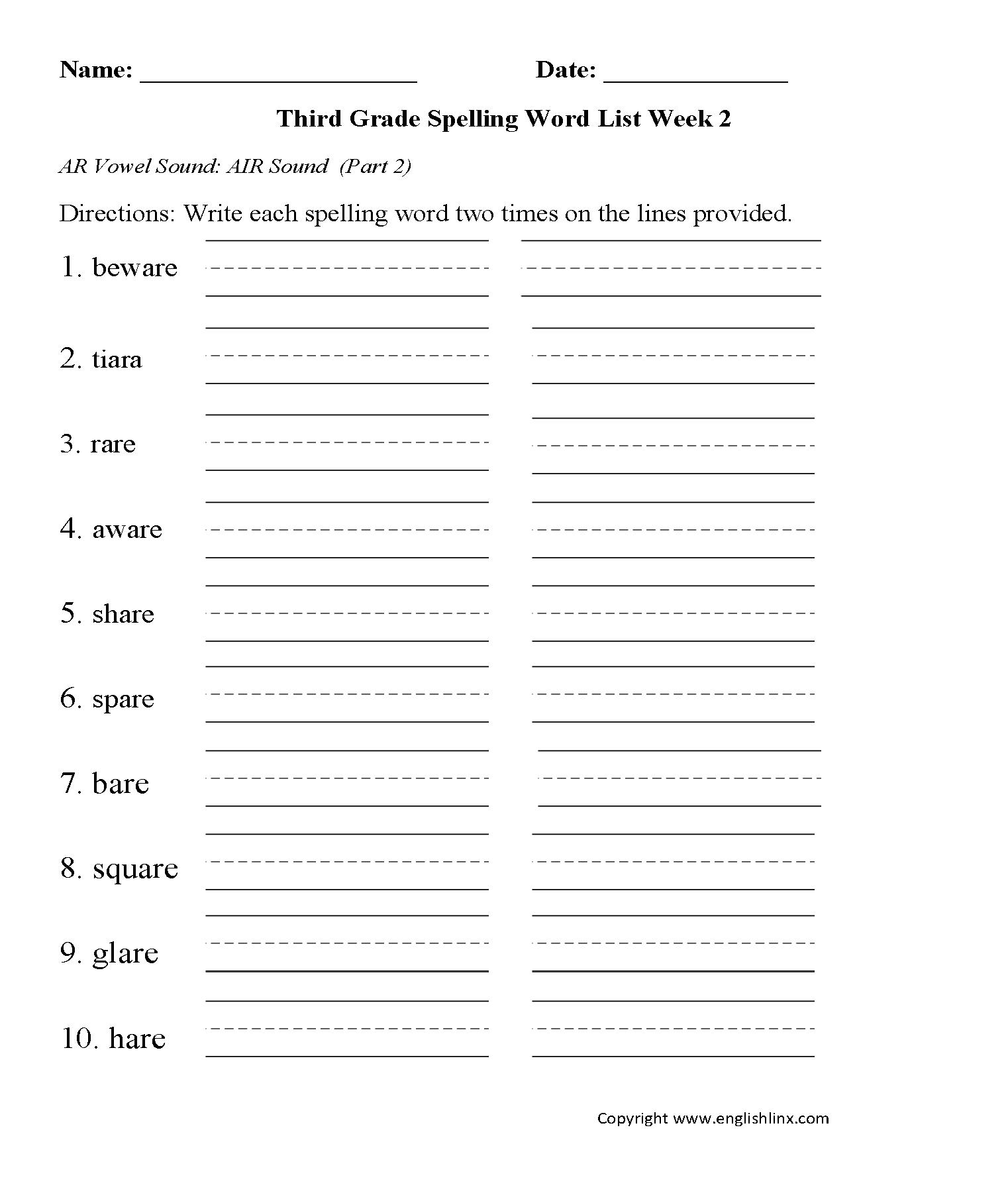 Spelling Worksheets Third Grade Spelling Words Worksheets