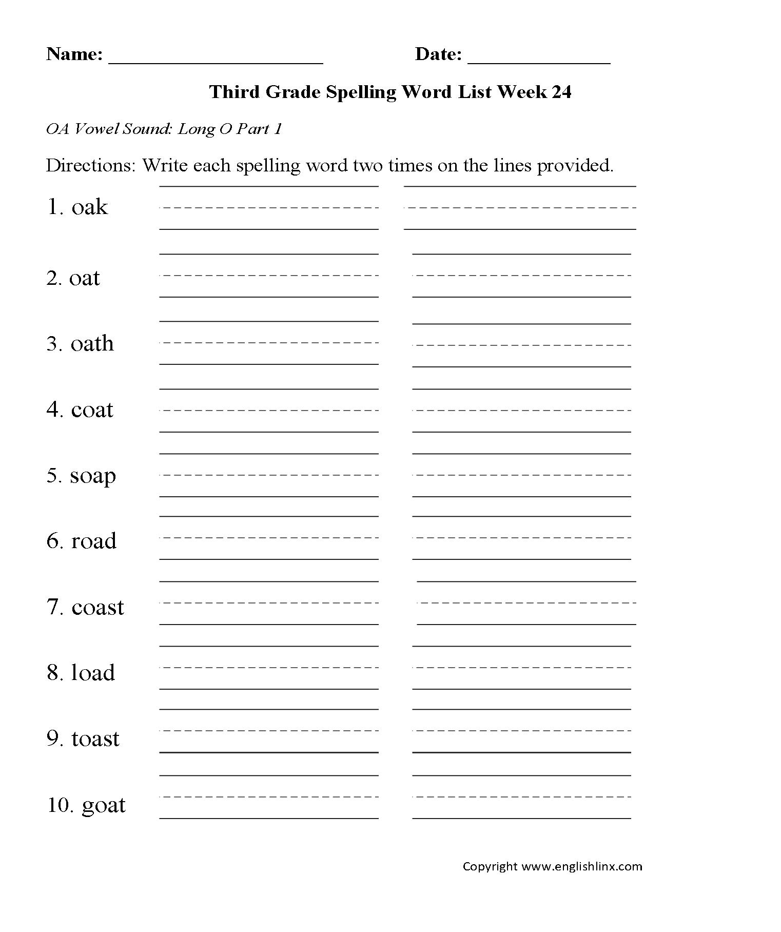 worksheet Oa Worksheets spelling worksheets third grade words week 24 long oa vowel part 1 worksheets