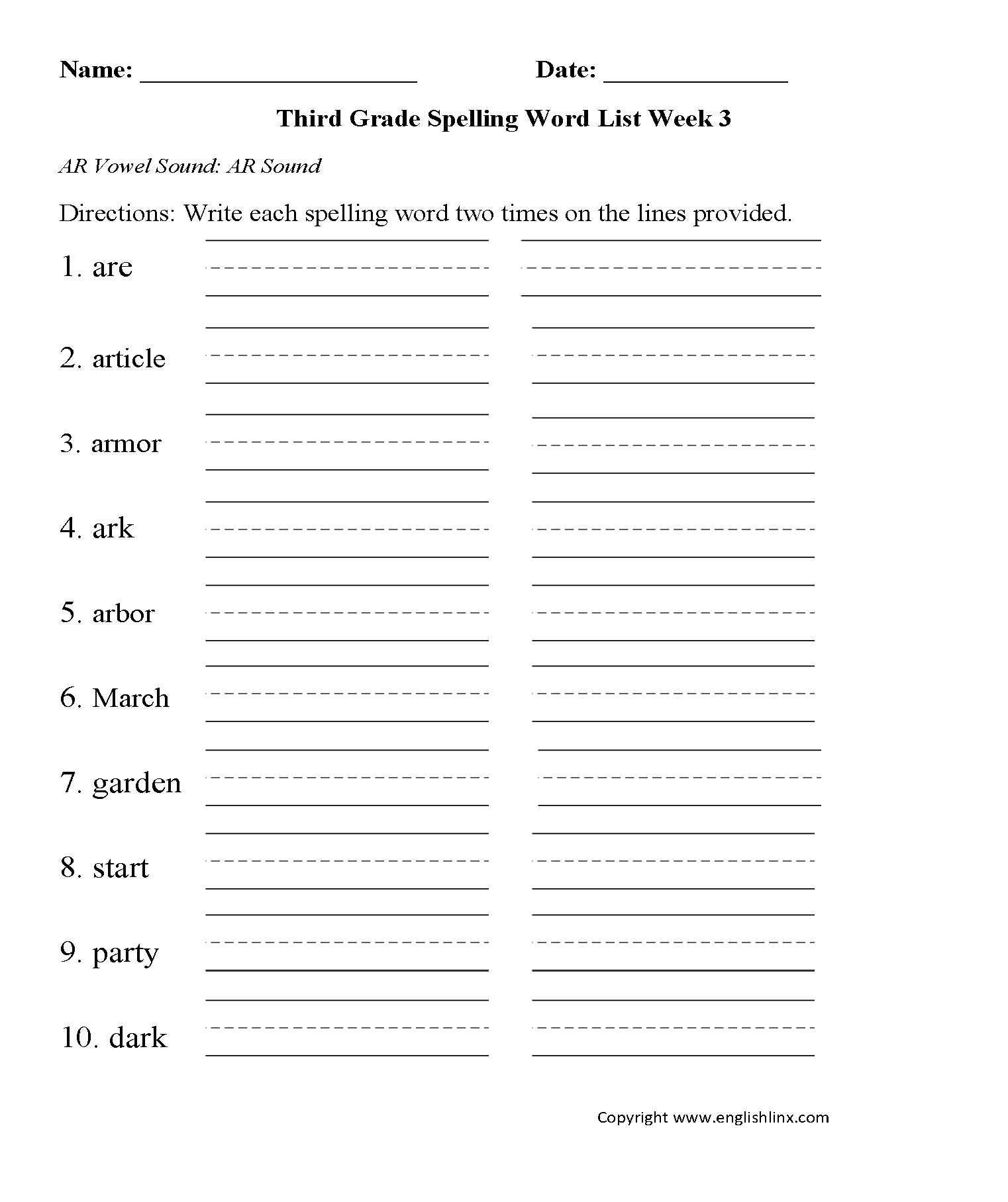 Spelling Worksheets | Third Grade Spelling Words Worksheets