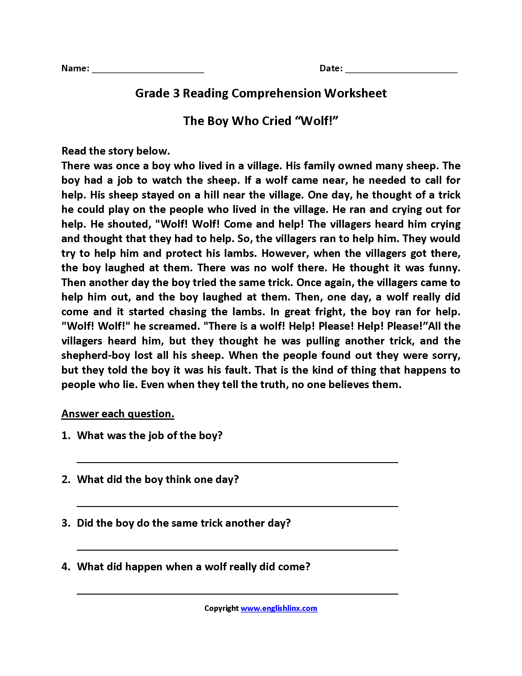 English Worksheets – Third Grade Comprehension Worksheets