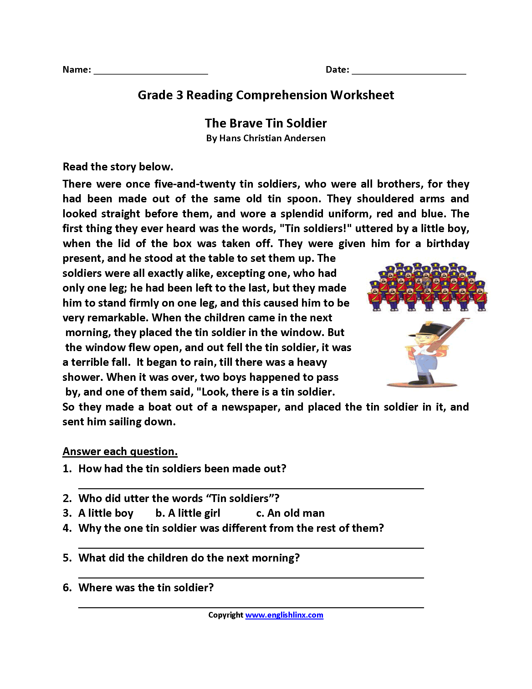 3rd grade Reading, Writing Worksheets: Reading comprehension ...