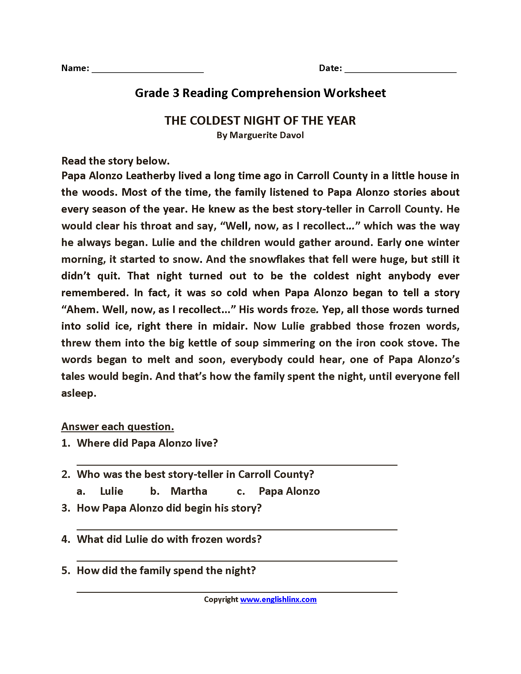 third grade reading comprehension worksheet