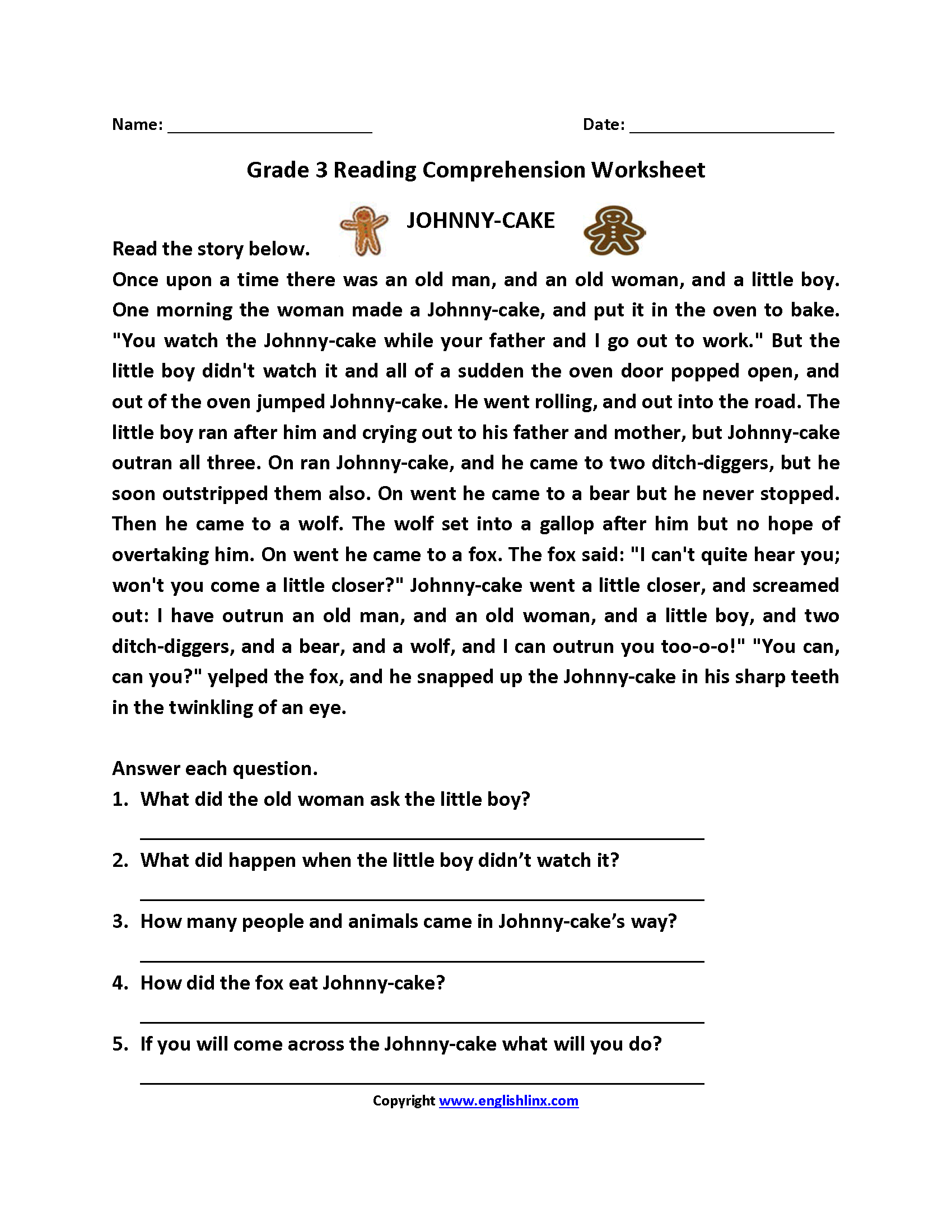 Worksheets For 3th Grade : Reading worksheets third grade