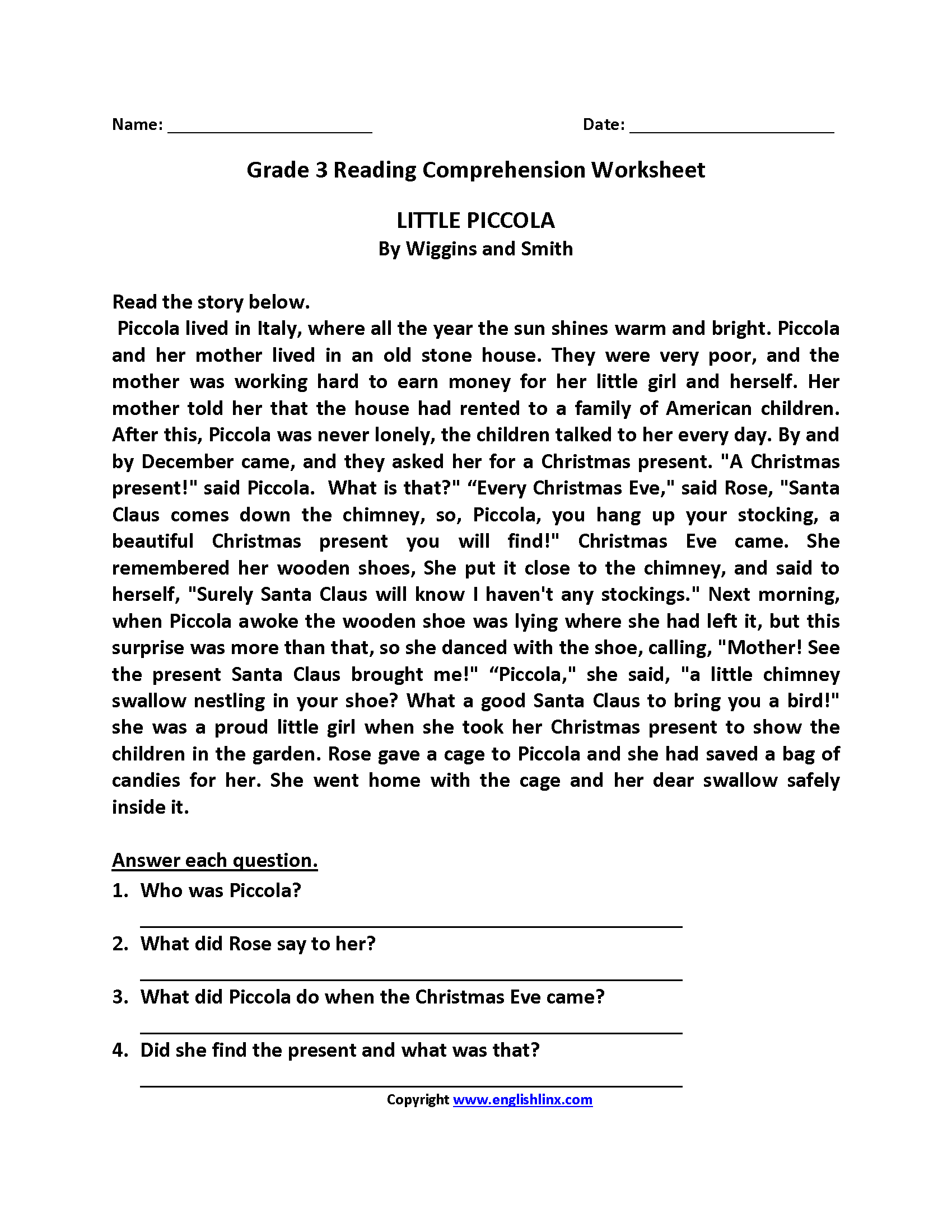 Reading Worksheets For 3rd Grade : Reading worksheets third grade